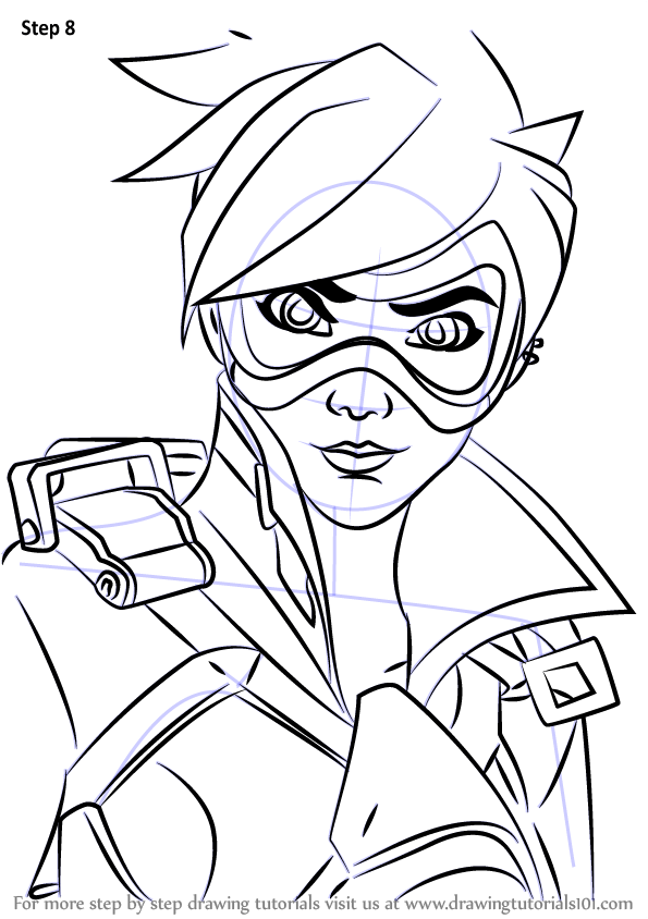 Learn How to Draw Tracer Face from Overwatch (Overwatch