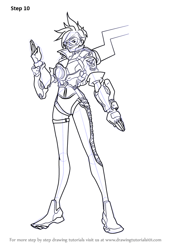 Learn How To Draw Tracer From Overwatch Overwatch Step By Step Drawing Tutorials
