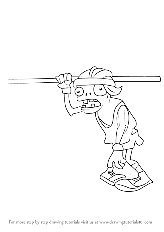 Learn How To Draw Pole Vaulting Zombie From Plants Vs
