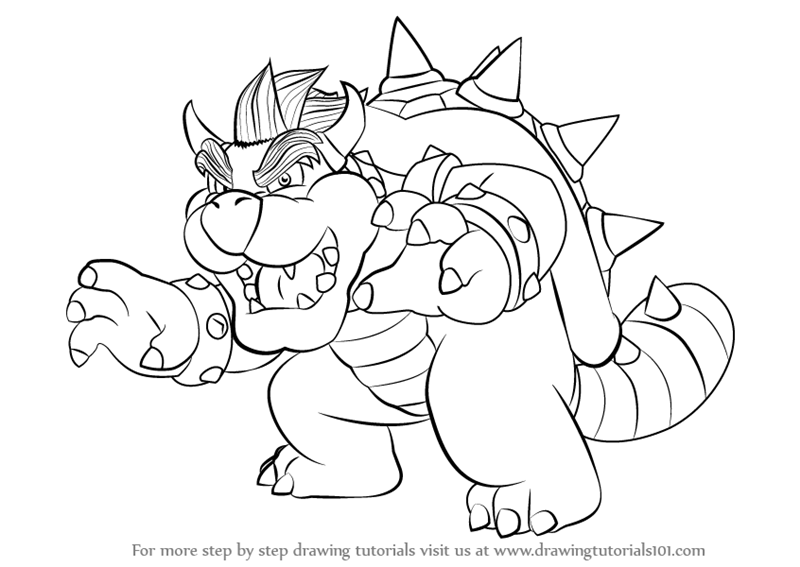 Learn How to Draw Bowser from Super Mario (Super Mario
