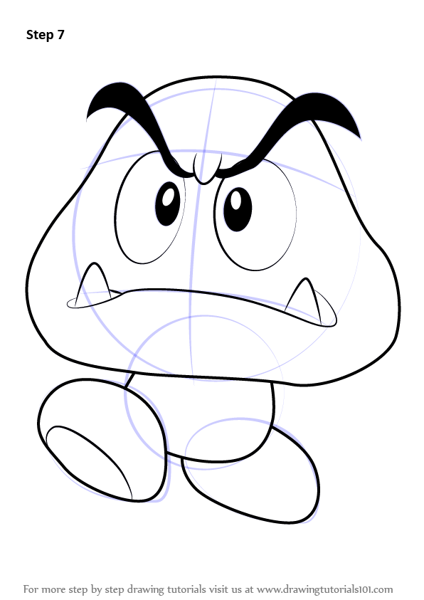 Step by Step How to Draw Goomba from Super Mario