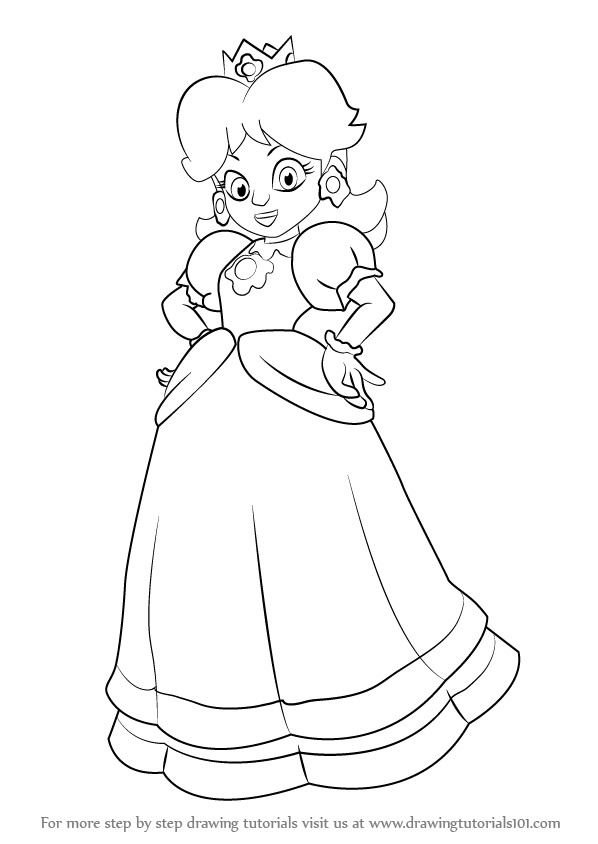 Learn How to Draw Princess Daisy from Super Mario from