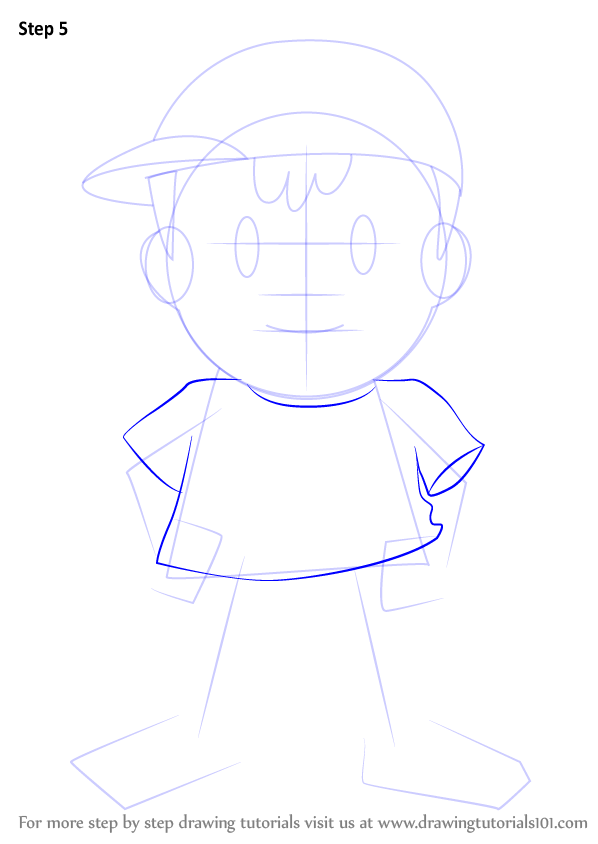 Learn How To Draw Ness From Super Smash Bros Super Smash Bros Step By Step Drawing Tutorials