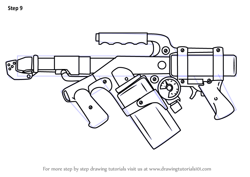 Learn How to Draw Flame Thrower (Other Weapons) Step by