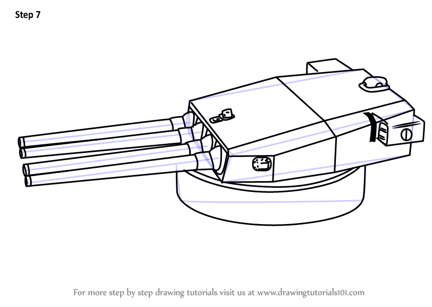 Learn How to Draw a Turret Gun (Other Weapons) Step by