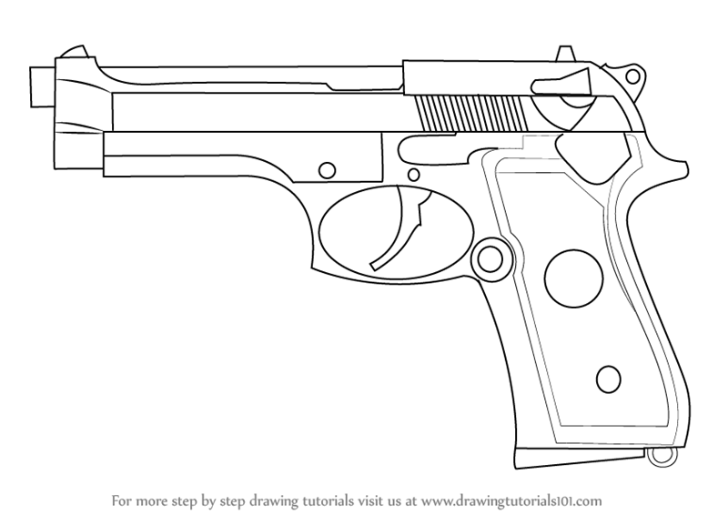 Learn How to Draw a Beretta 92 Pistol (Pistols) Step by