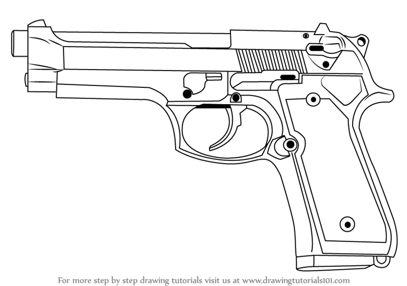 Learn How to Draw a 9mm Beretta M9 Pistol (Pistols) Step