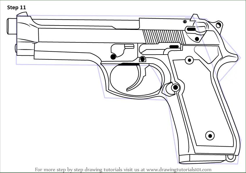 Learn How to Draw a 9mm Beretta M9 Pistol (Pistols) Step