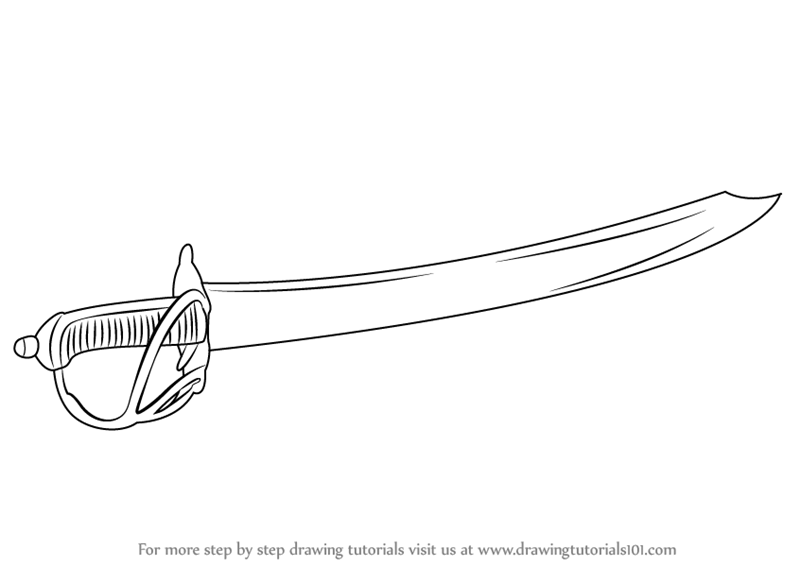 Learn How to Draw a Cutlass (Swords) Step by Step