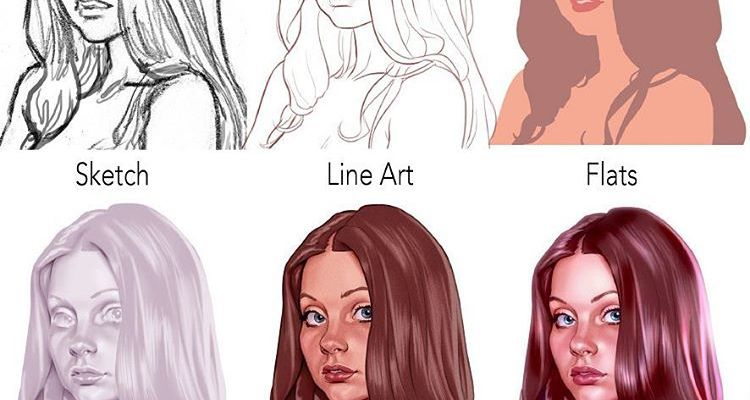 Breakdown of Photoshop portrait painting process by Chris Wahl
