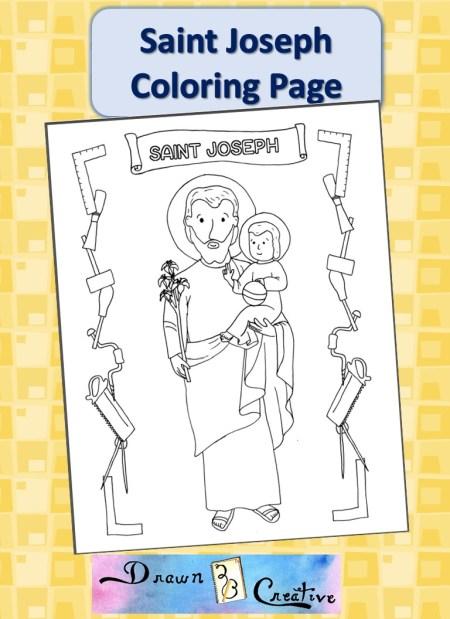 40 Days Of Free Lenten Printables Saint Joseph Coloring Page Drawn2bcreative