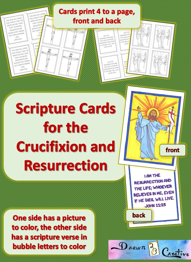 Scripture Cards for the Crucifixion and Risen Christ - Drawn2BCreative