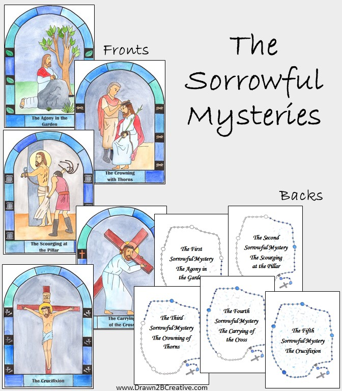 Watercolor Printable Mysteries Of The Rosary Cards Drawn2bcreative