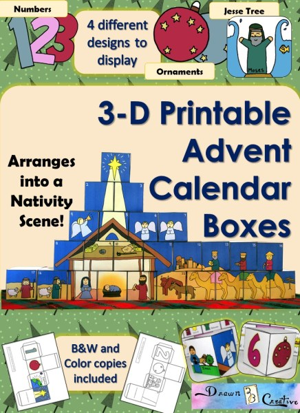 3-D Printable Advent Calendar Boxes - 4 different display designs