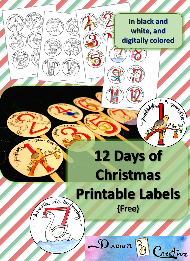 photo regarding 12 Days of Christmas Printable identified as Totally free Printable 12 Times of Xmas Labels - Drawn2BCreative