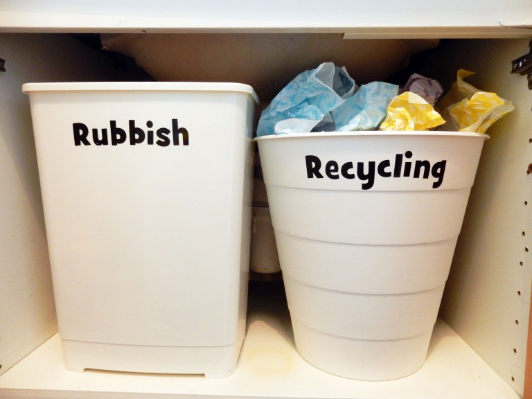 Add a recycling bin to your bathroom to make it easier to be eco-friendly