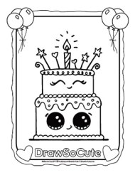 Admirable Birthday Cake Coloring Page Draw So Cute Personalised Birthday Cards Beptaeletsinfo