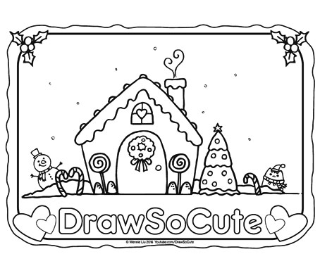 Free Gingerbread House Coloring Page – Draw So Cute