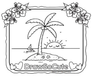 Free coloring page of an island with coconut tree draw for Www drawsocute com coloring pages