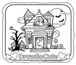 Halloween - Halloween haunted house coloring page | 256x300