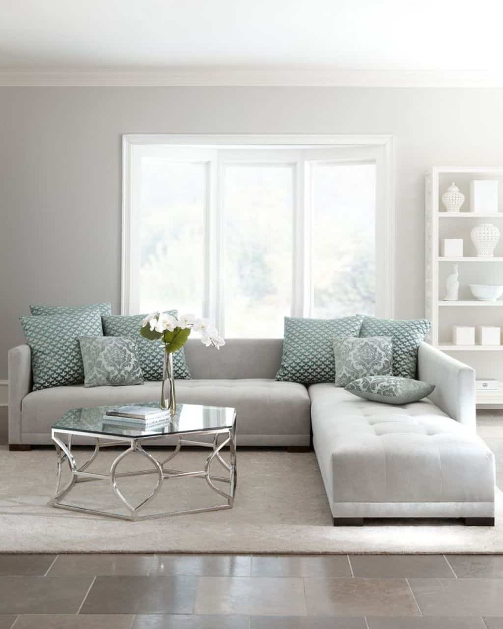 light grey sectional sofas showing
