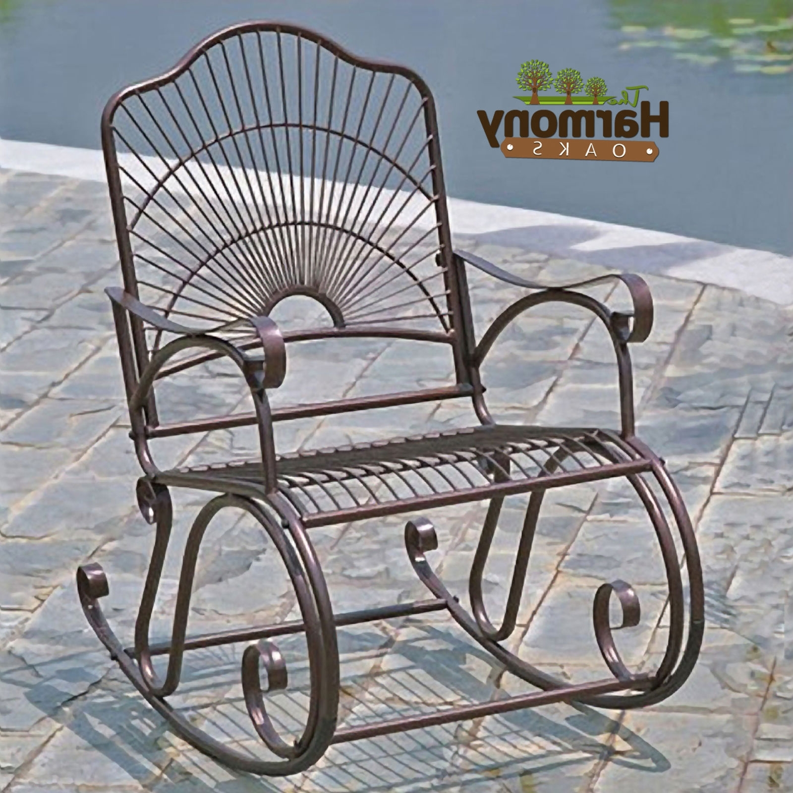 2021 latest wrought iron patio rocking