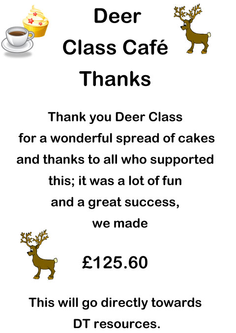 Deer Class Cake Sale Thank You