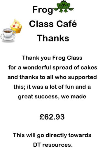 Frog Class Cake Sale Class Thank you