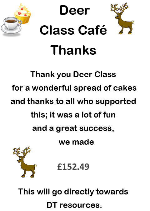 Cake Sale Class Thank you Poster 2013-14 Deer