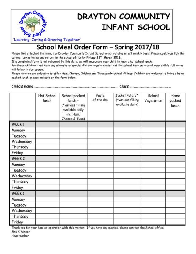 thumbnail of School Meal order form April & May 2018