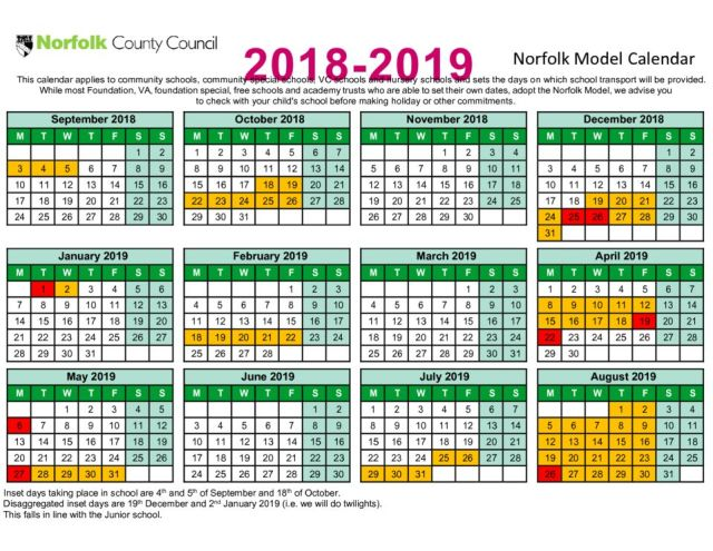 thumbnail of Term date calendar 2018 to 2019
