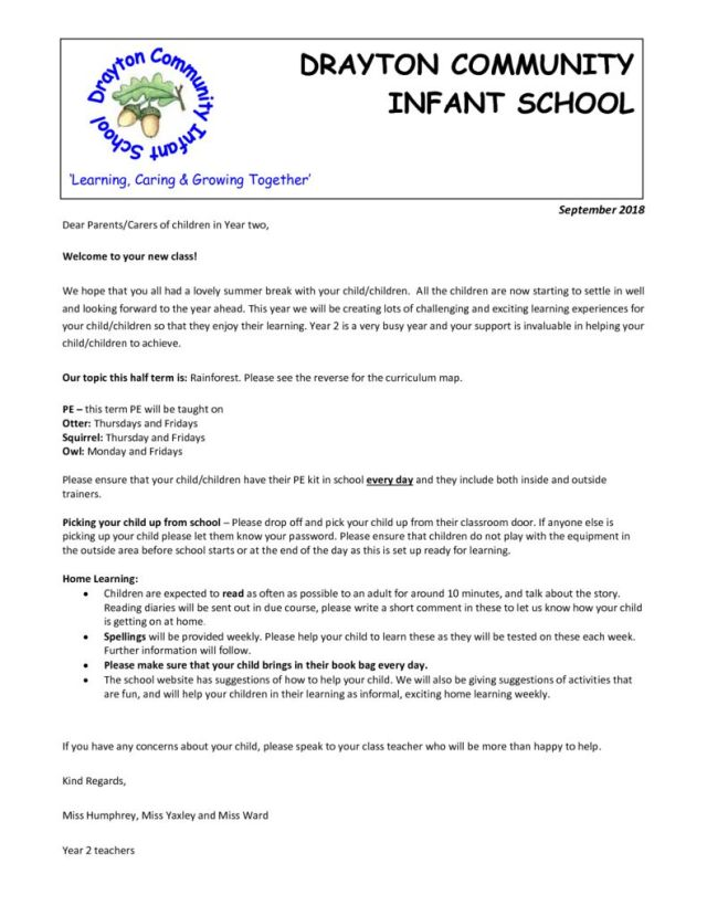 thumbnail of Parent welcome letter Year 2