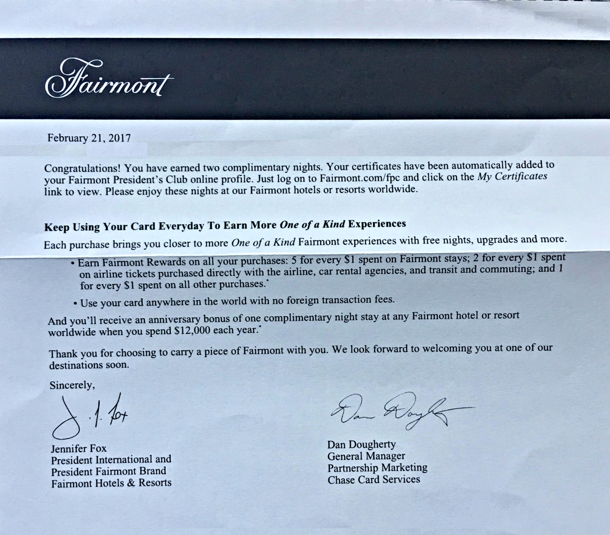 Fairmont signature visa by chase update sevenr two free nights expocarfo Images