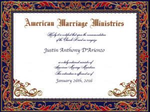 Dr. D'Arienzo's Ordination Certificate