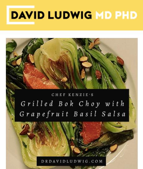 grilled bok choy with grapefruit basil salsa Newsletter