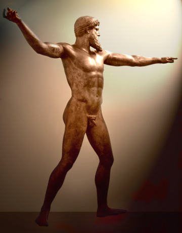 Greek bronze, thought to be Poseidon or Zeus, Athens Archeological Museum.
