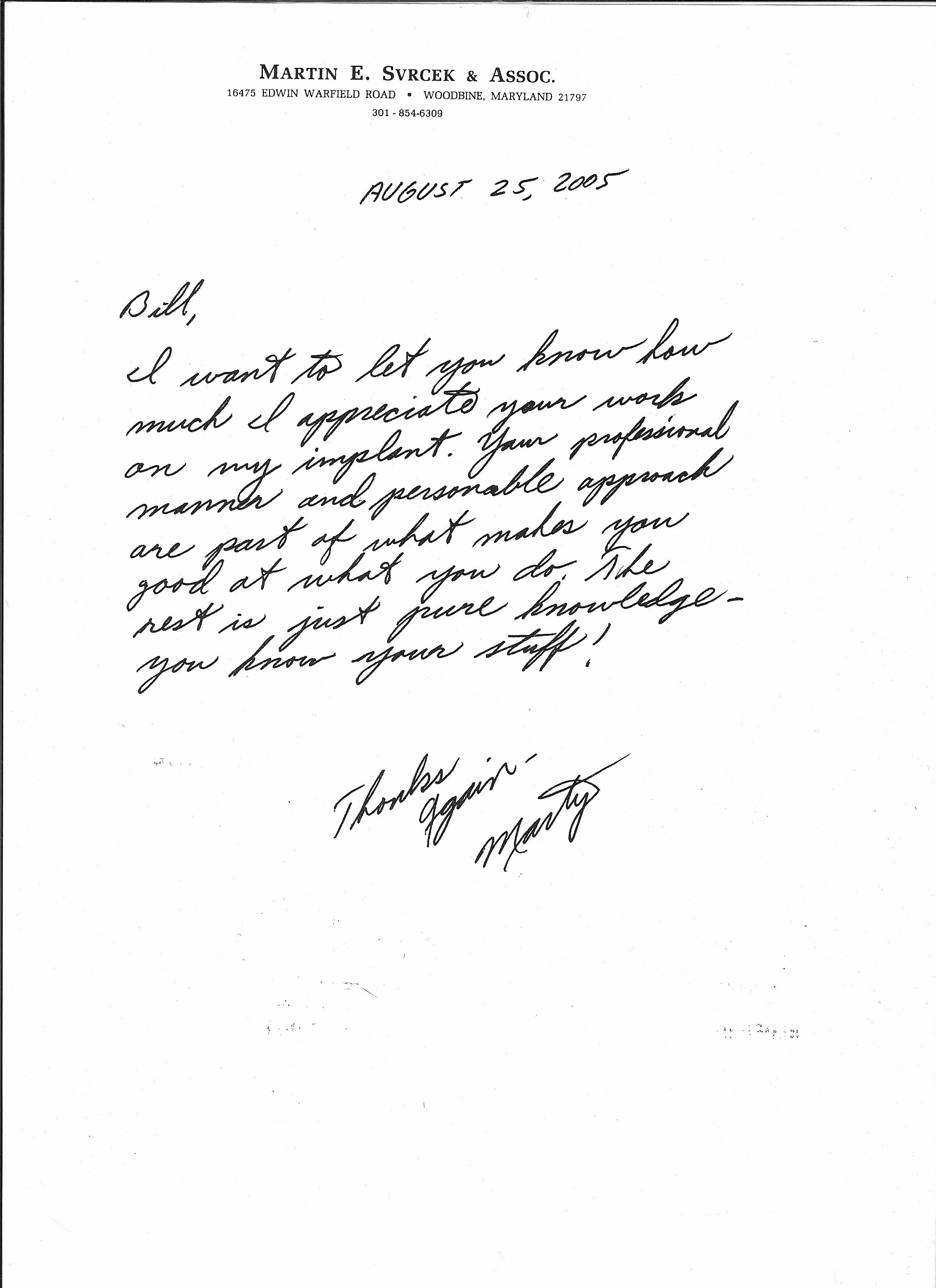 Patient Testimonials, Oral Surgery Boyds MD William R