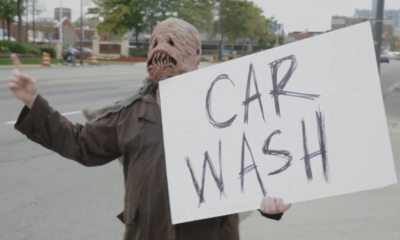 car - Car Wash Becomes a Haunted House in Halloween Scare Prank