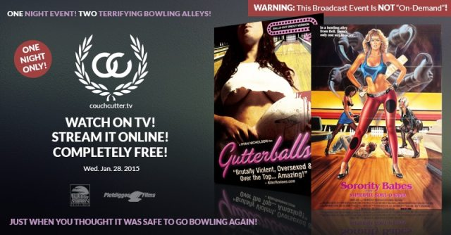 couchcutter premiere promo - Sorority Babes/Gutterballs Double Feature Kicking Off CouchCutter.tv in January