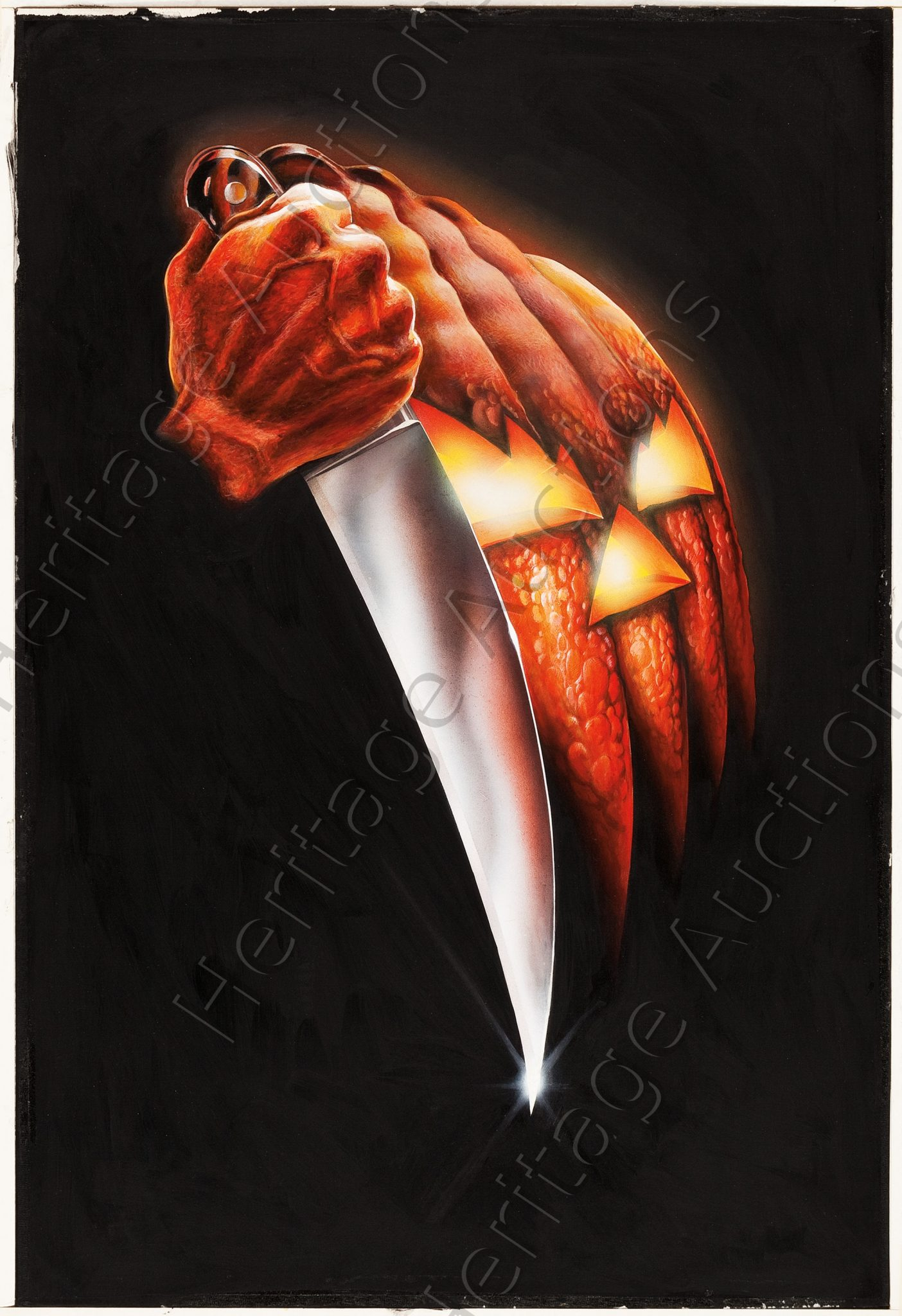 original halloween poster painting up for auction dread