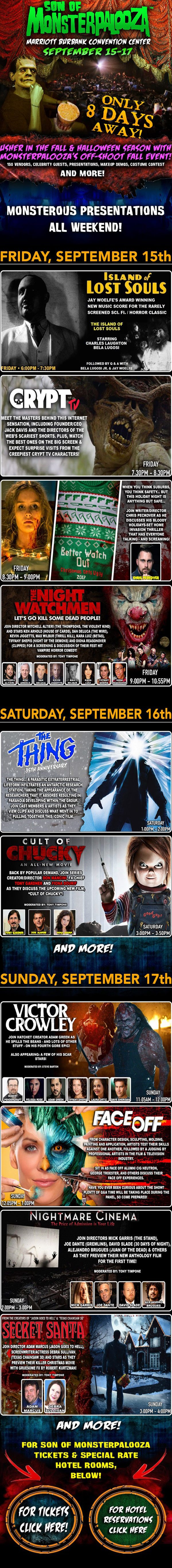 son of monsterpalooza 2017presentations - Son of Monsterpalooza Special Presentations Include Panels on Victor Crowley, Cult of Chucky, Mayhem, The Thing, The Exorcist, and LOTS More!