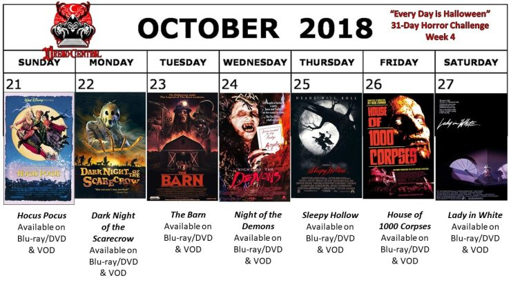 October 2018 31 Day Horror Challenge Week 4 - Every Day is Halloween: Dread Central's 31-Day Horror Challenge for October 2018