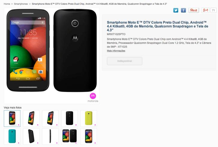 """Smartphone_Moto_E™_DTV_Colors_Preto_Dual_Chip_com_Android™_4_4_Kitkat®__4GB_de_Memória__Processador_Qualcomm_Snapdragon_Dual_Core_1_2_GHz__Tela_de_4_3""""_e_Câmera_de_5MP_-_XT1025"""