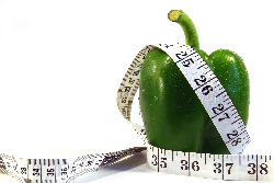 Measurement tape wrapped around green pepper