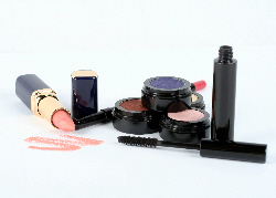 A collection of make-up on a white background