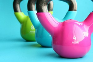 Colourful kettlebells - we use kettlebells in our fitness classes including kettlercise and bootcamp