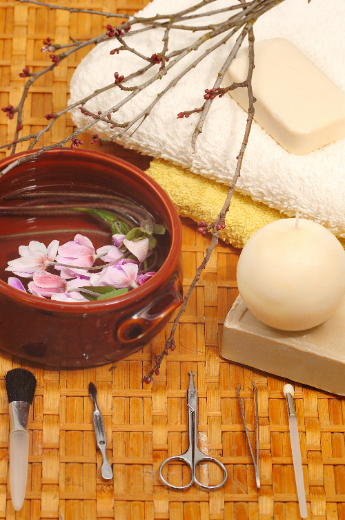 Honey soaps in spa with flowers