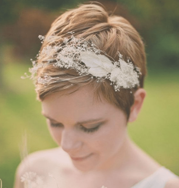 the shortest urchin cut teamed with a pretty headdress can be either dramatic or demure depending on your own personality and the style of your wedding