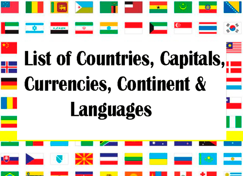 List Of Countries Capitals Currencies Continent Languages Wiki