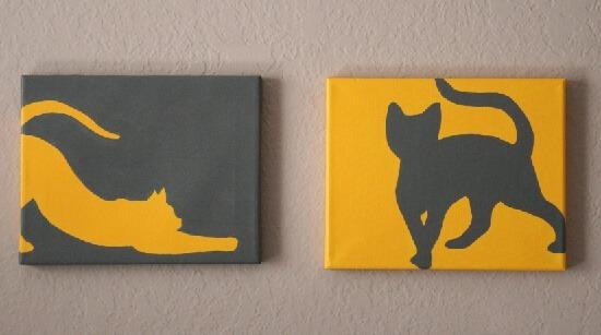 Catty Art  Feline Silhouette Paintings Tutorial  Dream a
